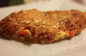 Mixed pepper and cheese omelette